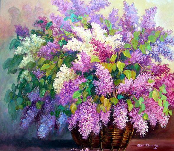 Цветы сирени нарисованные краской